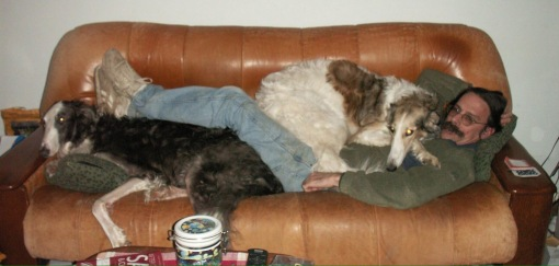 Stanley (left), Keith (laying down across the couch), and Sweet Pea (on Keith's chest)....aka the Keith sandwich on Russian rye.